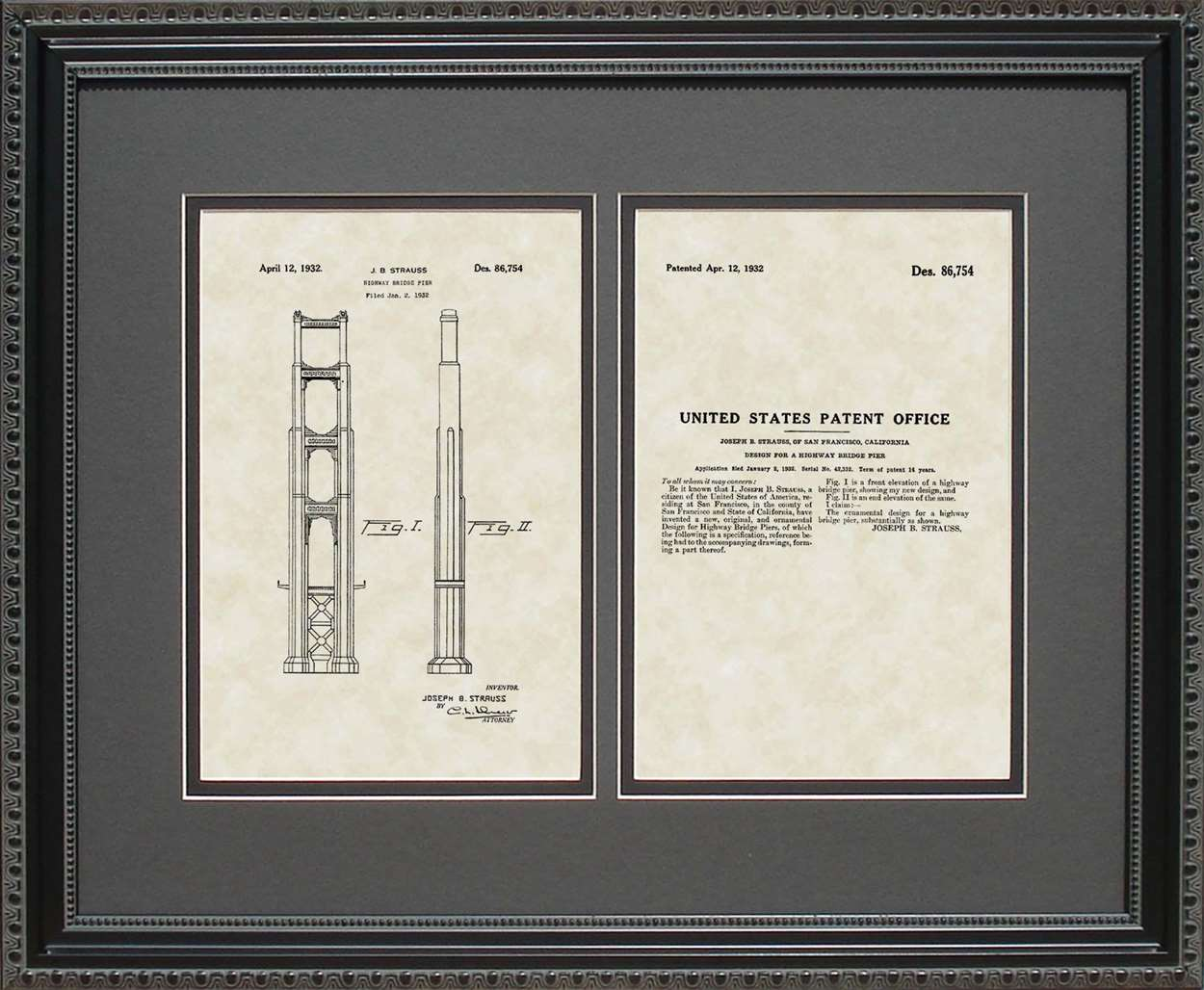 Pier/Golden Gate Bridge Patent, Art & Copy, Strauss, 1932, 16x20