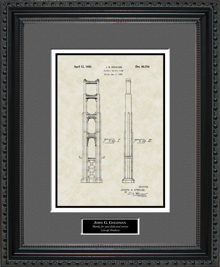 Personalized Pier/Golden Gate Bridge Patent Art, Strauss, 1932