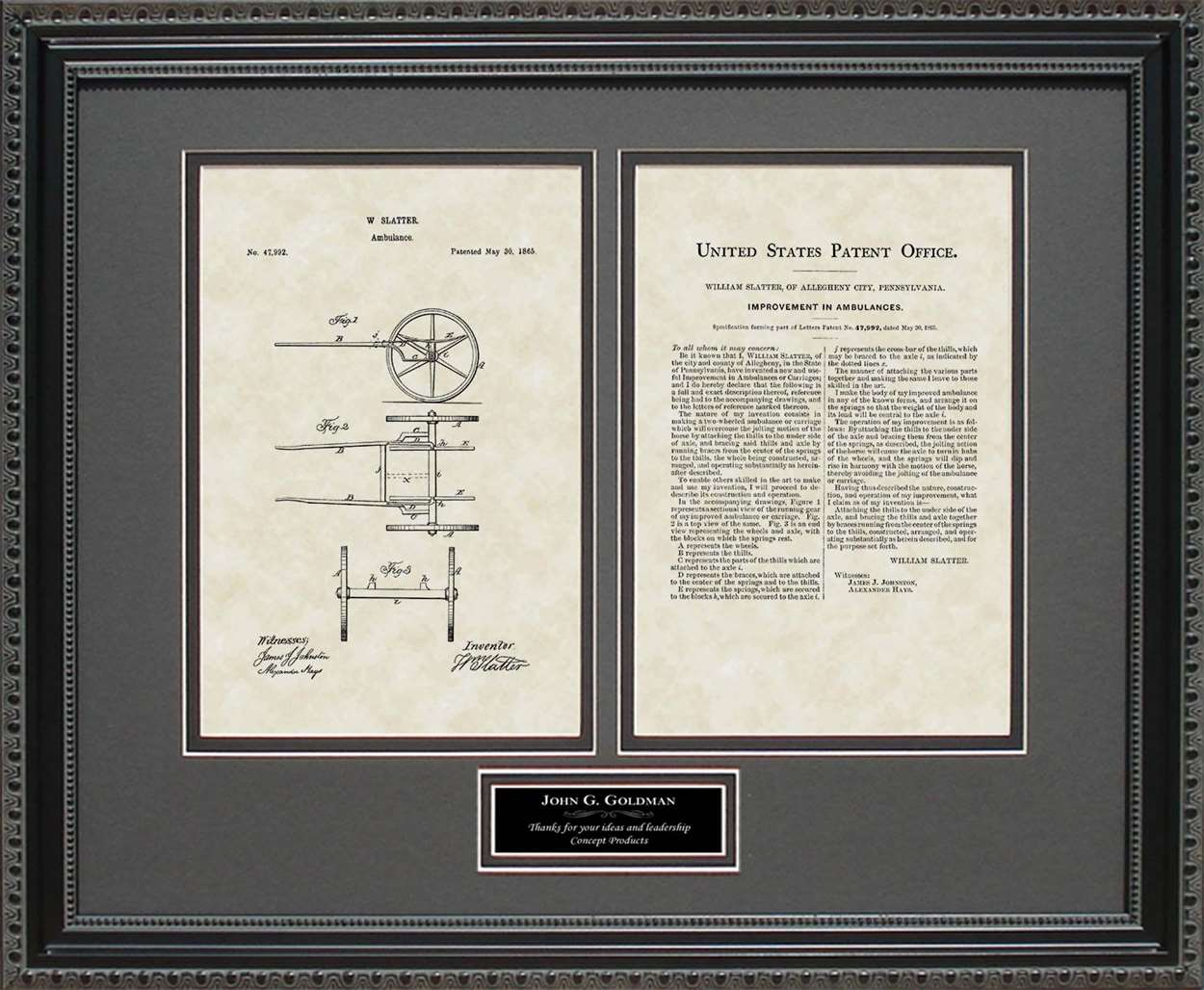 Personalized Ambulance Patent, Art & Copy, Slatter, 1865