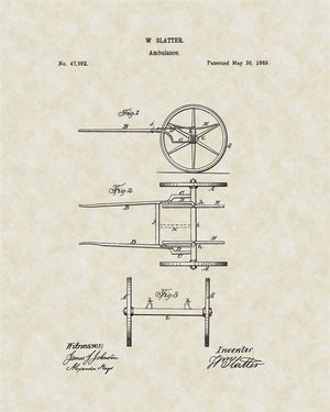 Ambulance Patent Art, Slatter, 1865