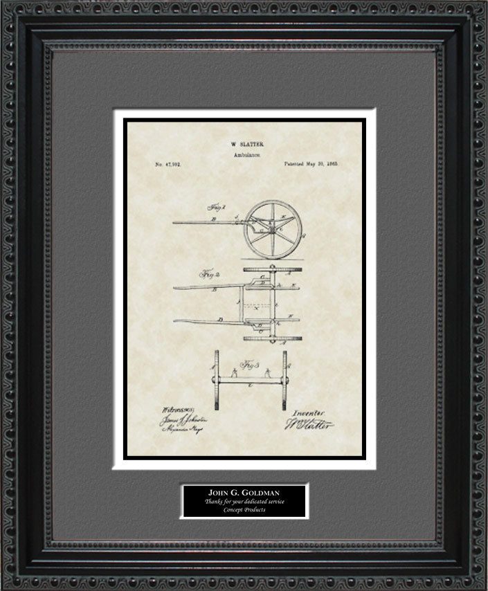 Personalized Ambulance Patent Art, Slatter, 1865