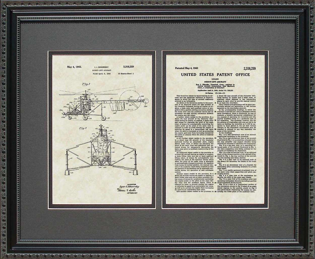 Helicopter Patent, Art & Copy, Sikorsky, 1943, 16x20