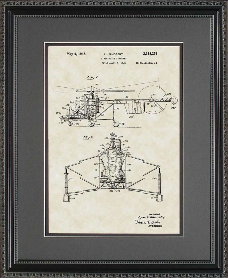 Helicopter Patent Art, Sikorsky, 1943