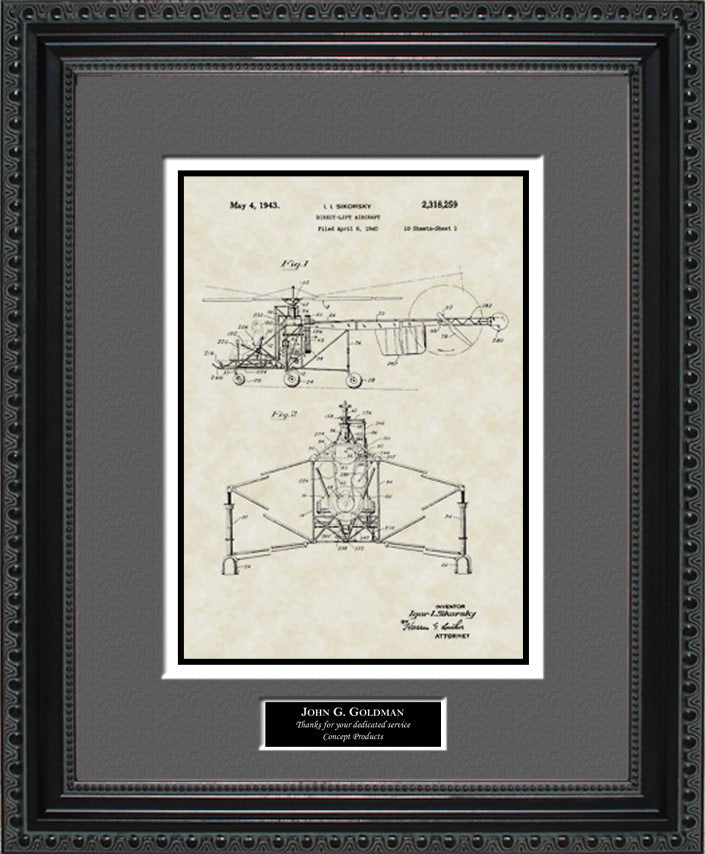 Personalized Helicopter Patent Art, Sikorsky, 1943