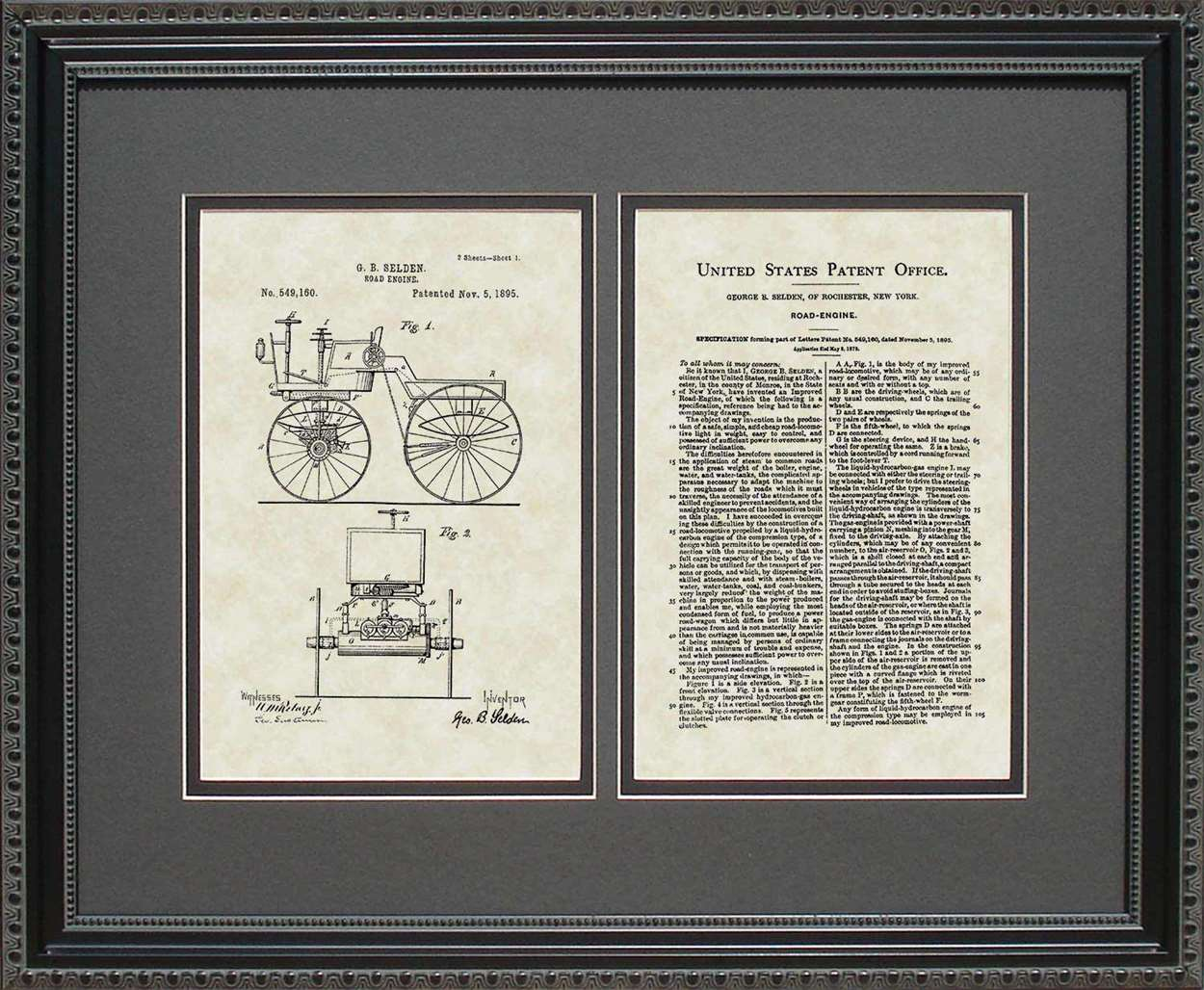 First Automobile Patent, Art & Copy, Selden, 1895, 16x20
