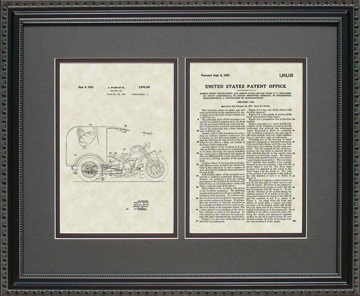 3-Wheel Delivery Car Patent, Art & Copy, Stern, 1932, 16x20