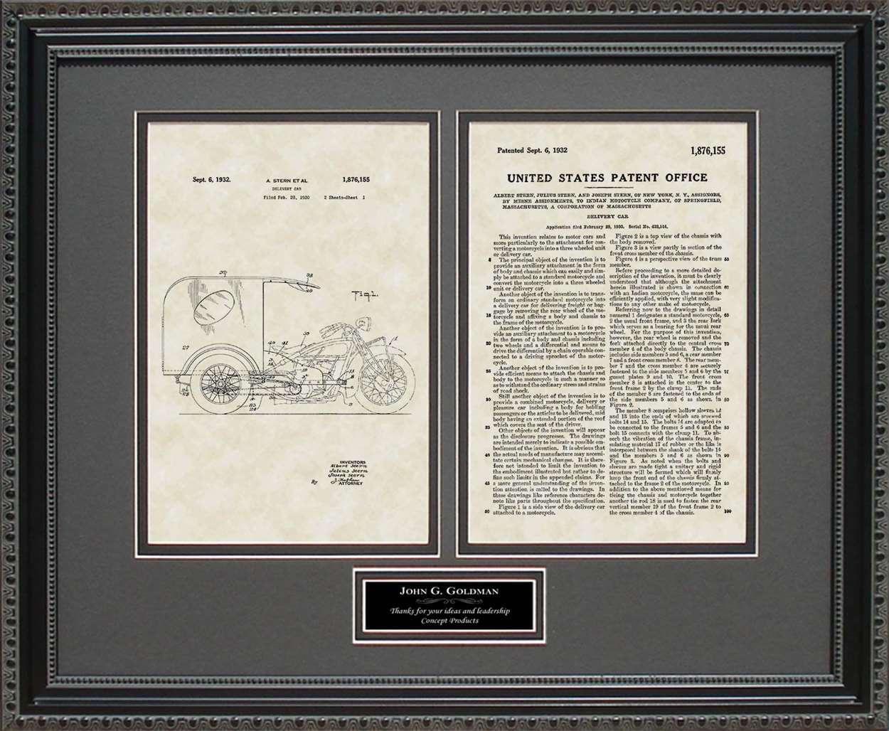 Personalized 3-Wheel Delivery Car Patent, Art & Copy, Stern, 1932