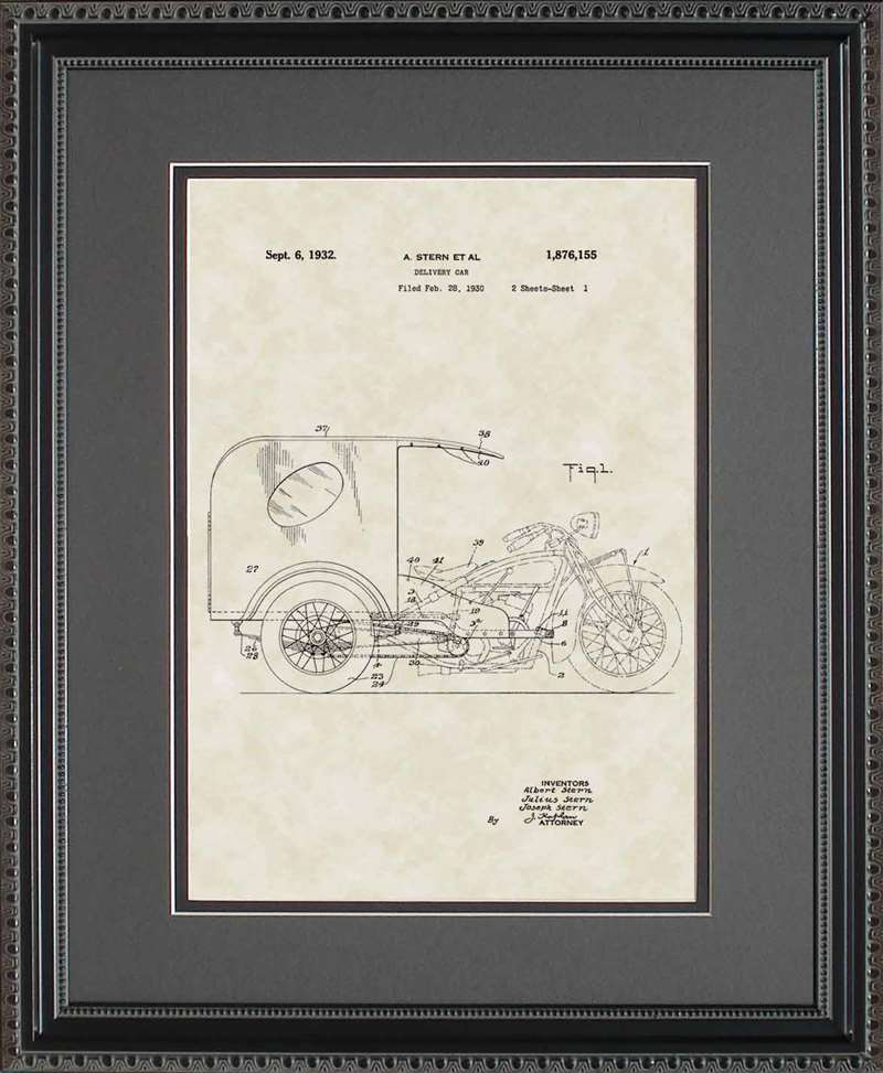 3-Wheel Delivery Car Patent Art, Stern, 1932