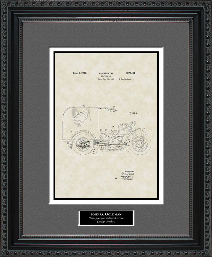 Personalized 3-Wheel Delivery Car Patent Art, Stern, 1932