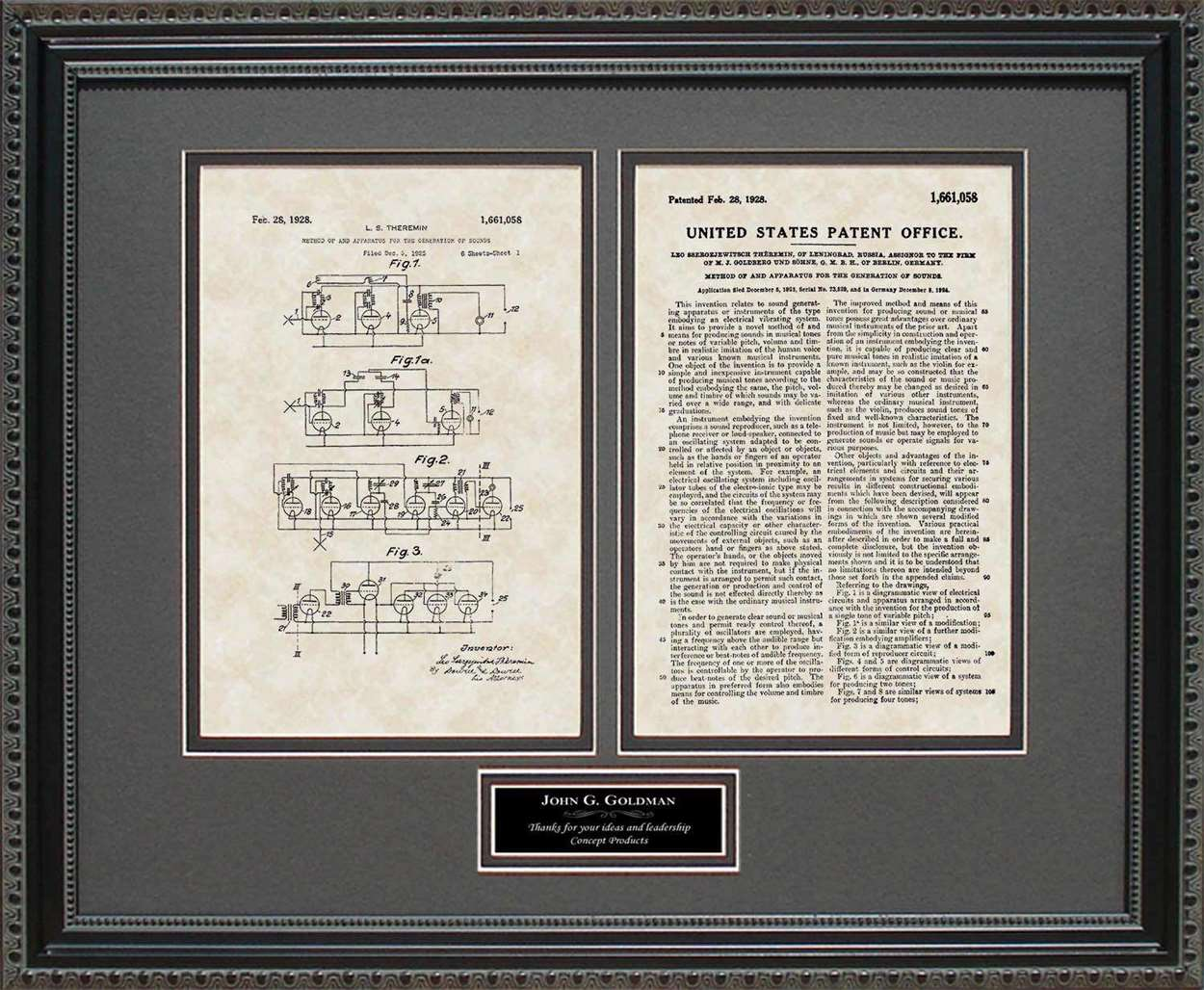 Personalized Synthesizer Patent, Art & Copy, Theremin, 1928