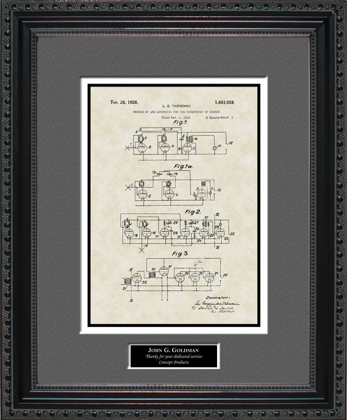Personalized Synthesizer Patent Art, Theremin, 1928