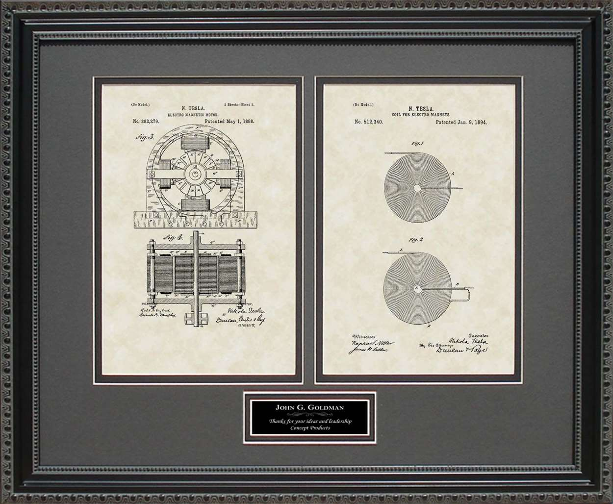 Personalized Tesla Motor & Coil Patents, 16x20