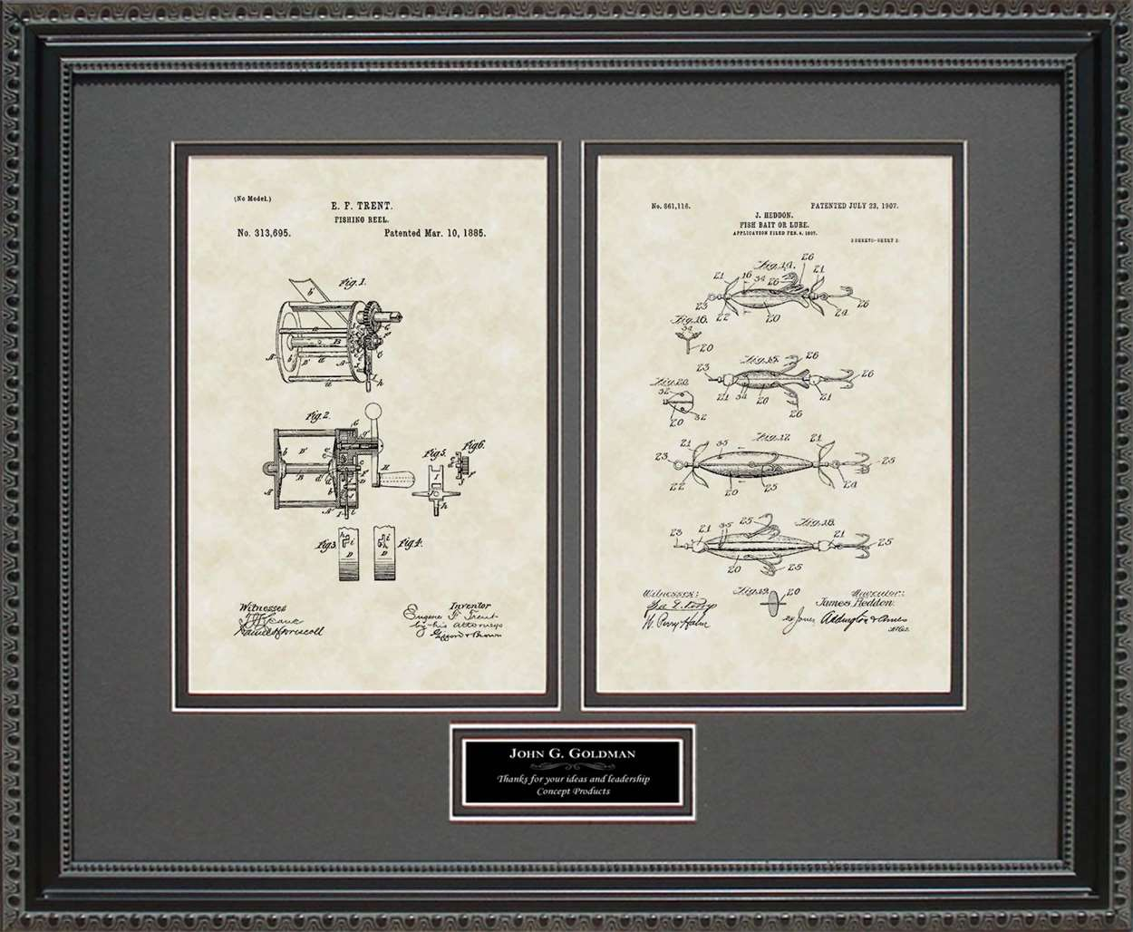 Personalized Fishing Reel & Lure Patents, 16x20