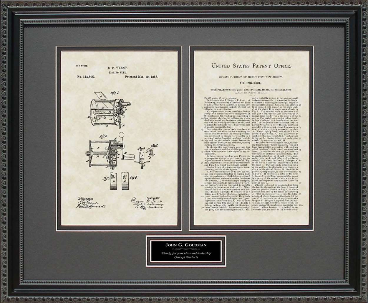 Personalized Fishing Reel Patent, Art & Copy, Trent, 1885