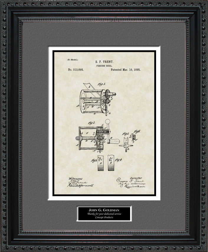 Personalized Fishing Reel Patent Art, Trent, 1885