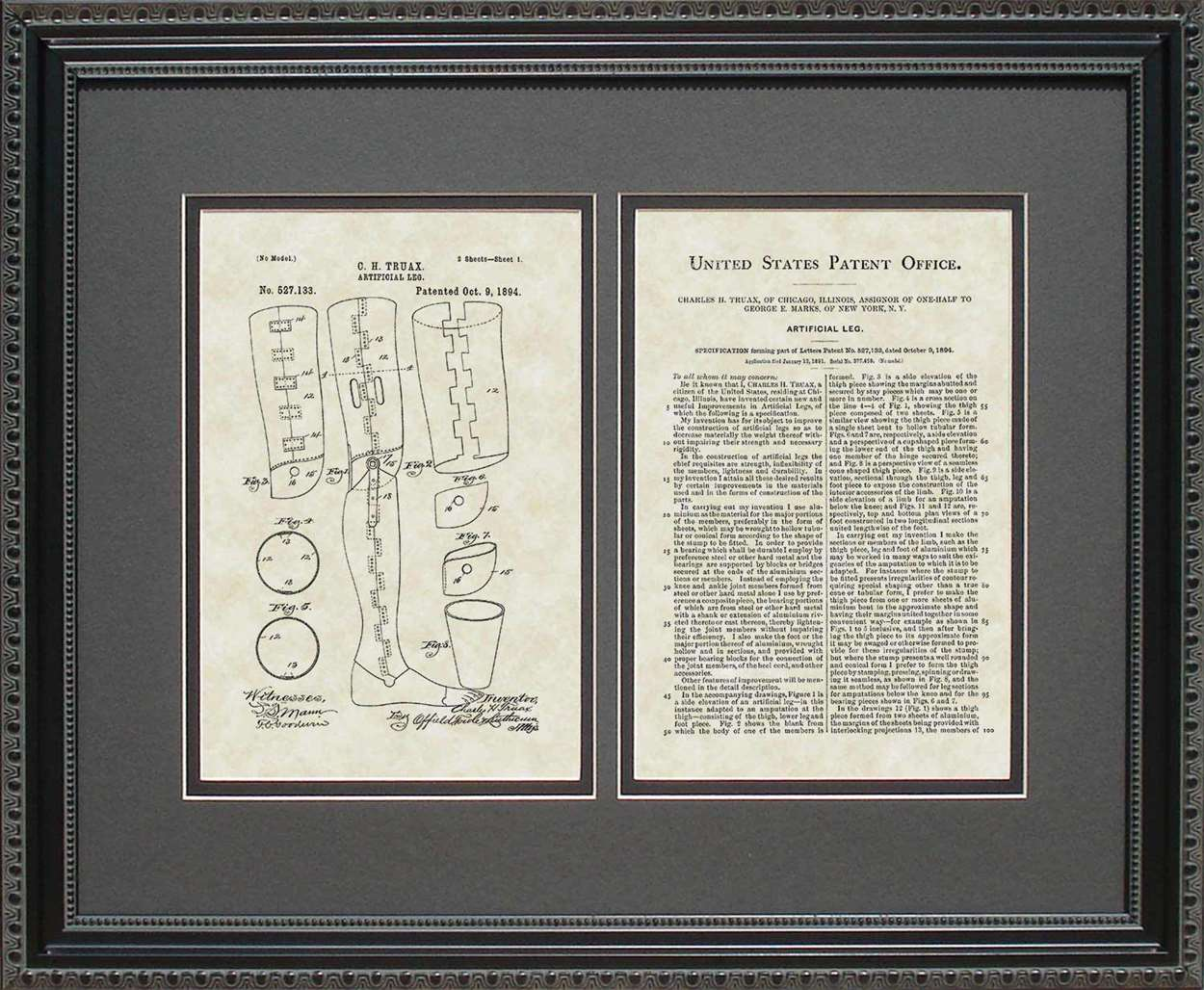 Artifical Leg Patent, Art & Copy, Truax, 1894, 16x20