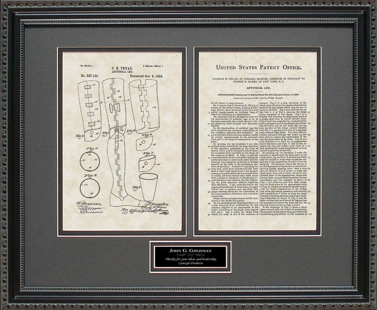 Personalized Artifical Leg Patent, Art & Copy, Truax, 1894