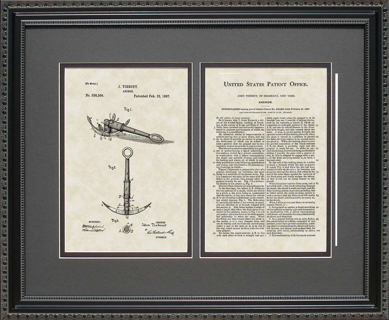 Boat Anchor Patent, Art & Copy, Tiebout, 1887, 16x20
