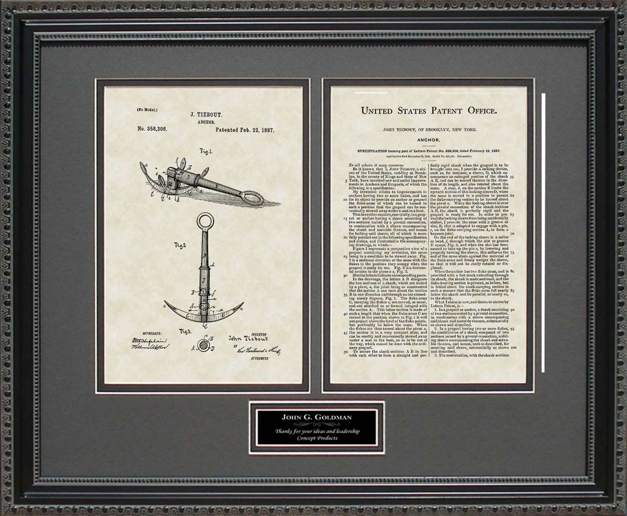 Personalized Boat Anchor Patent, Art & Copy, Tiebout, 1887