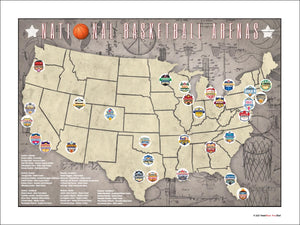 NBA National Basketball Assn Arenas Location Map, 24x18