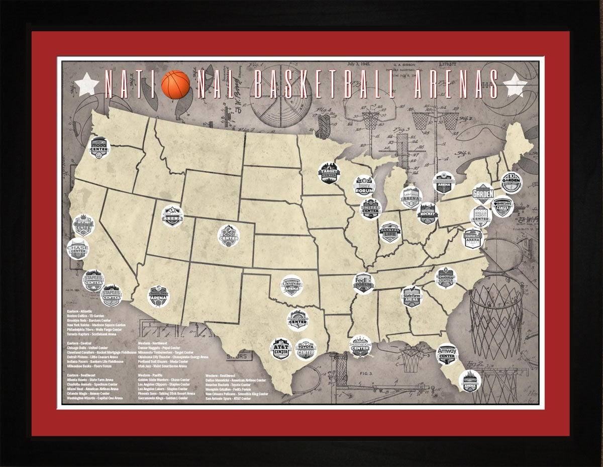 NBA National Basketball Assn Arenas Tracking Map, 24x18