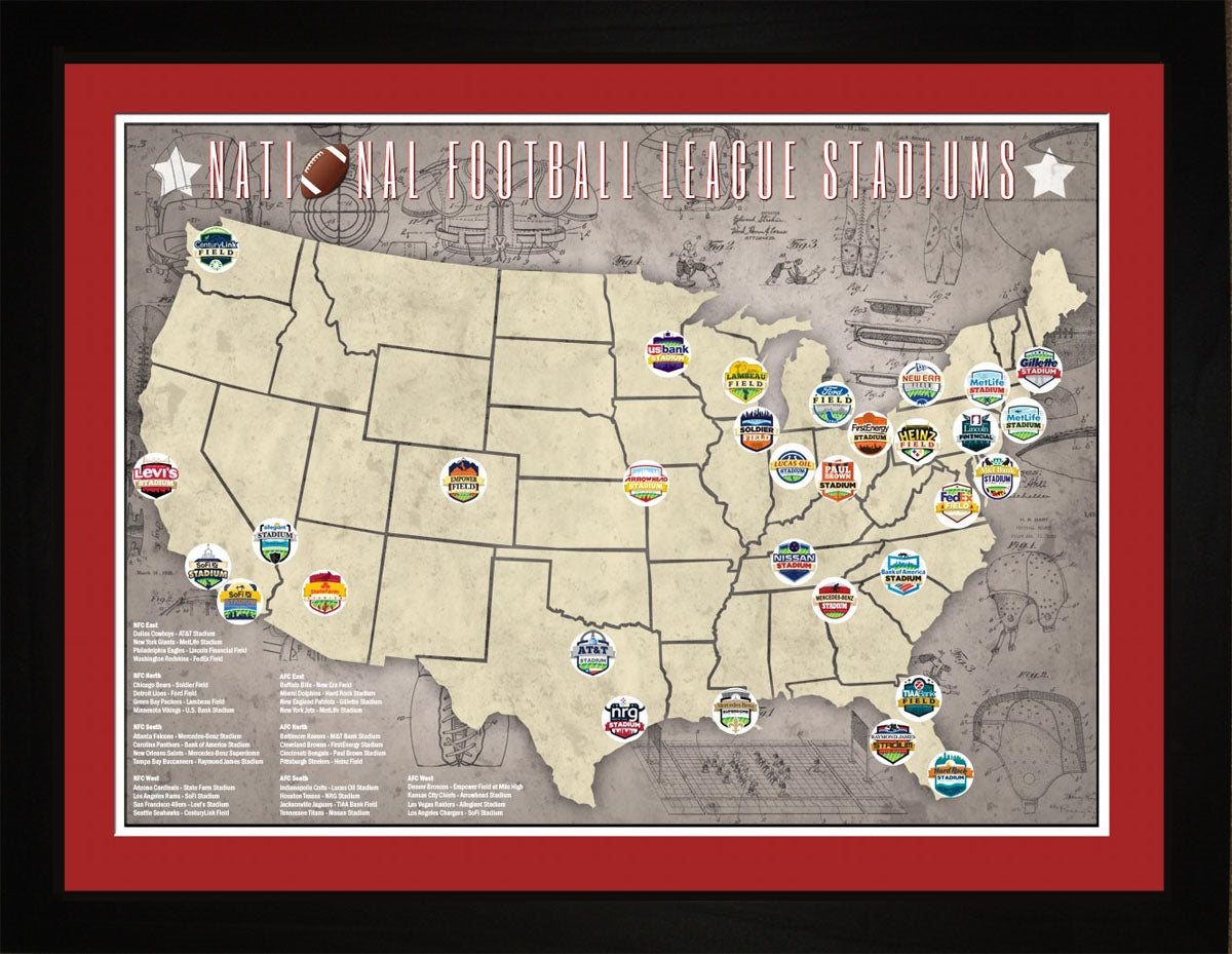 NFL National Football League Stadiums Location Map, 24x18