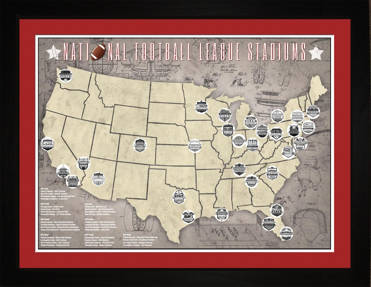 NFL National Football League Stadiums Tracking Map, 24x18