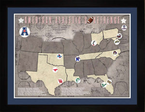 AAC College Football Stadiums Teams Location Tracking Map, 24x18