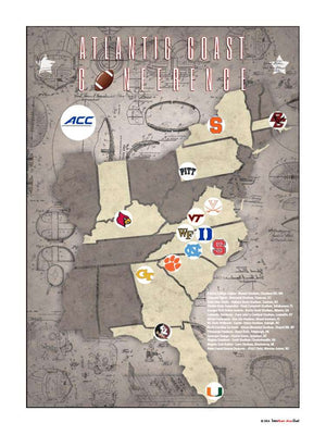 ACC College Football Stadiums Teams Location Tracking Map, 24x18