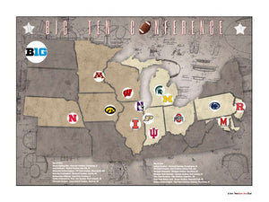 Big10 College Football Stadiums Teams Location Tracking Map, 24x18