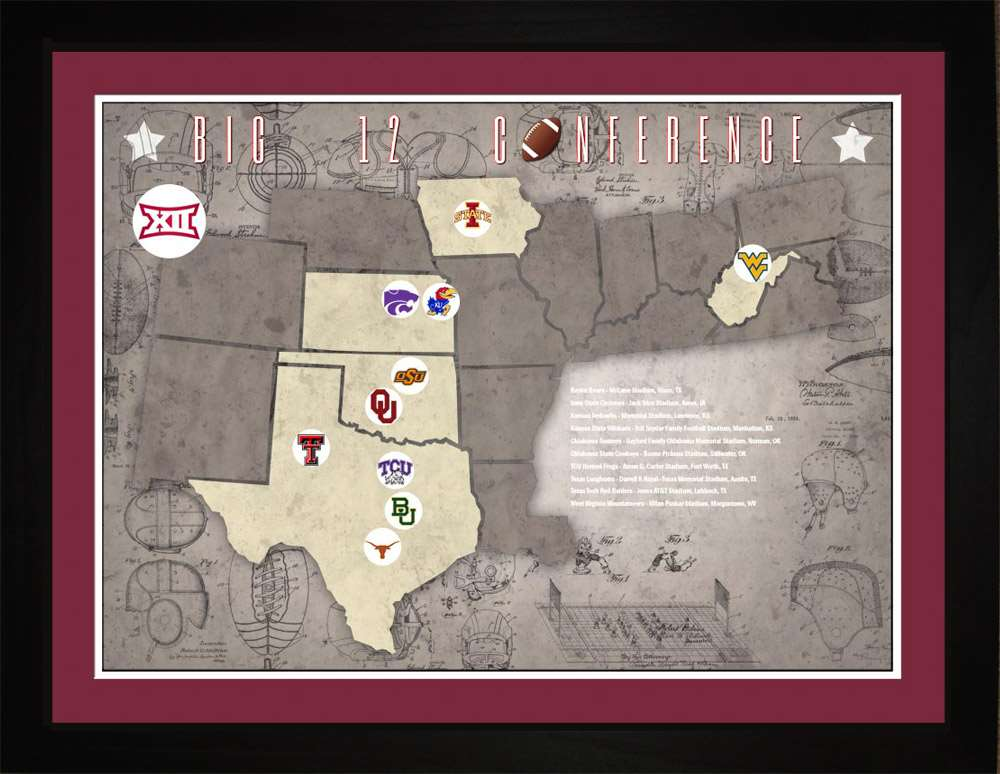 Big12 College Football Stadiums Teams Location Tracking Map, 24x18