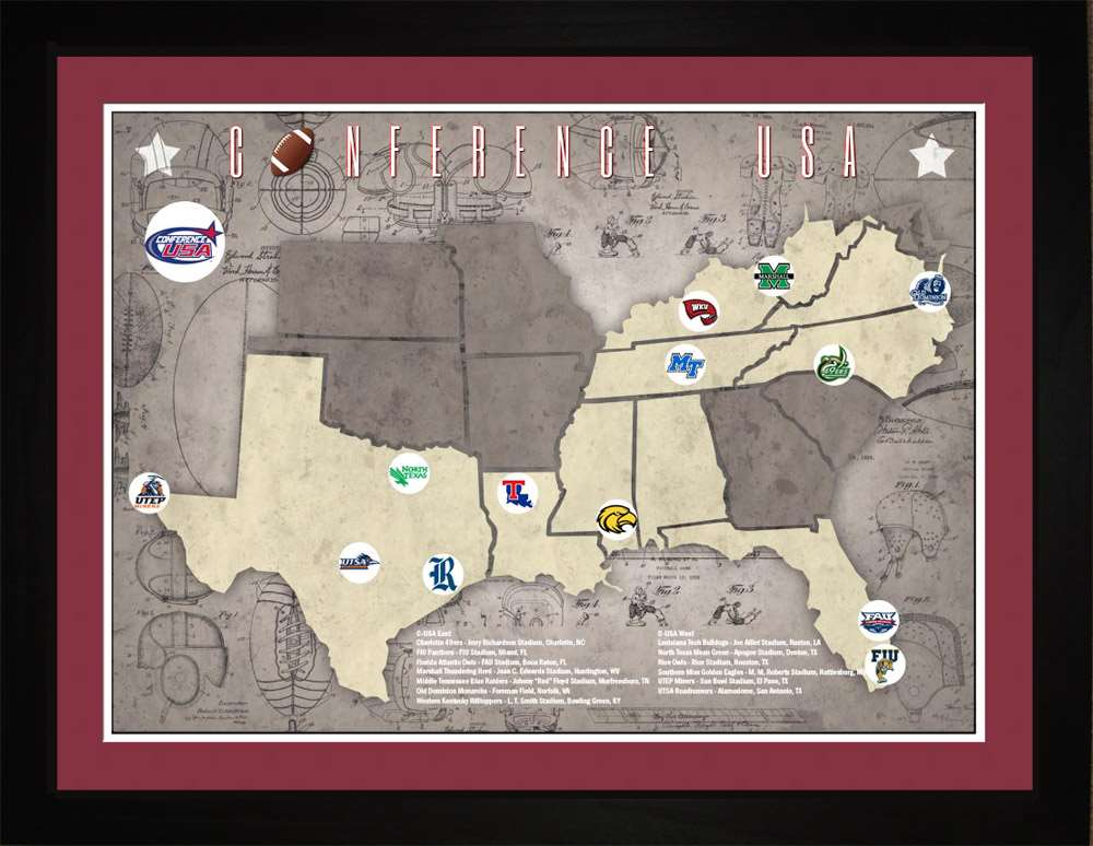 CUSA College Football Stadiums Teams Location Tracking Map, 24x18