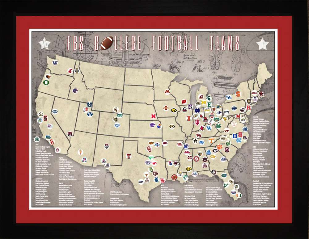 FBS College Football Stadiums Teams Location Tracking Map, 24x18