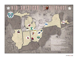 MAC College Football Stadiums Teams Location Tracking Map, 24x18