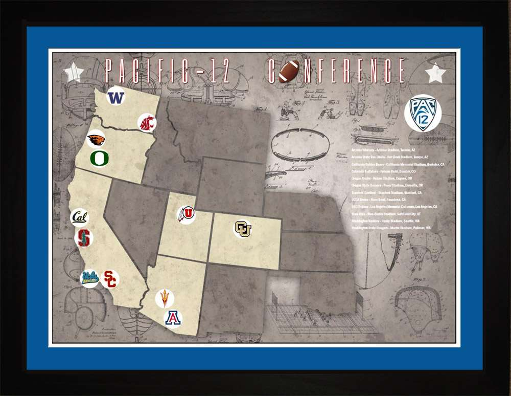 Pac12 College Football Stadiums Teams Location Tracking Map, 24x18