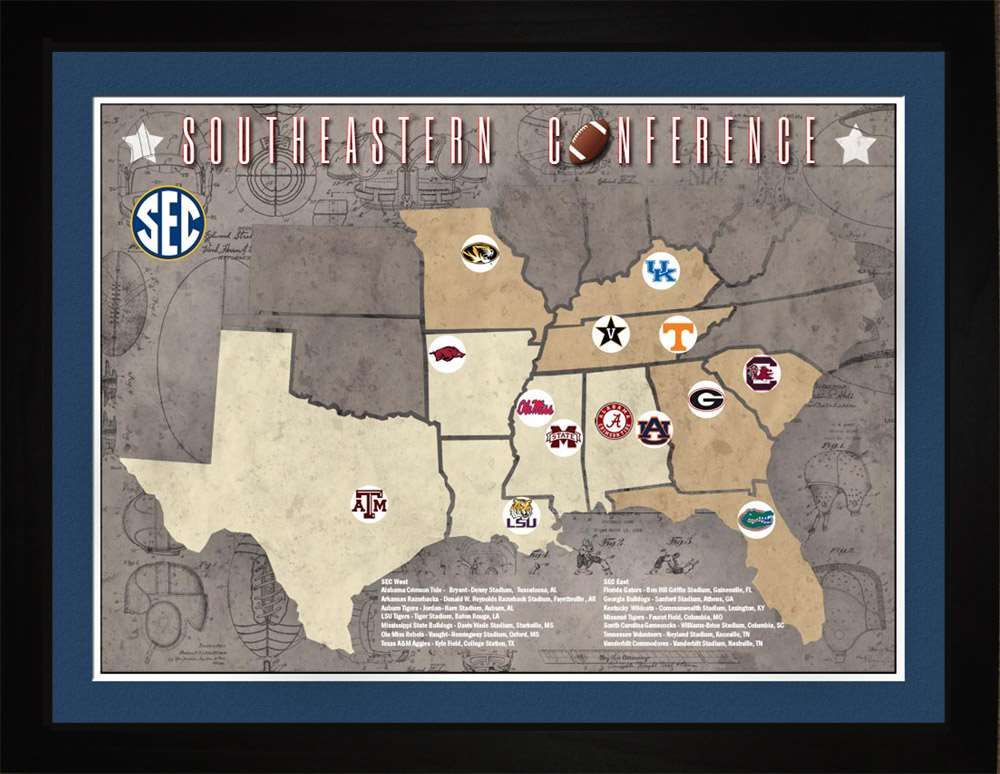 SEC College Football Stadiums Teams Location Tracking Map, 24x18