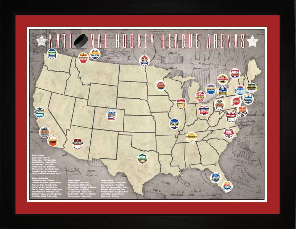 NHL National Hockey League Arenas Location Map, 24x18