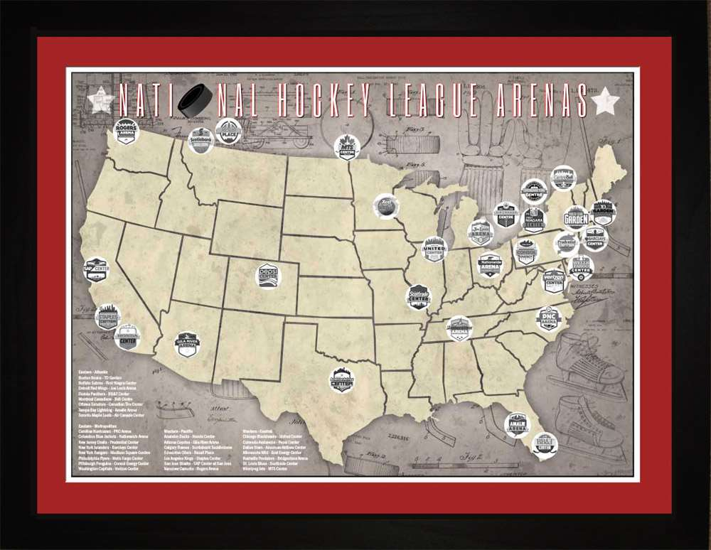 NHL National Hockey League Arenas Tracking Map, 24x18