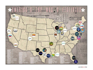 Americas Top Music Festivals Location Map, 24x18
