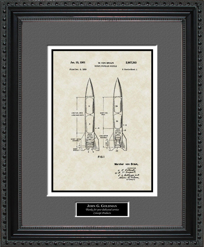 Personalized Rocket Patent Art, von Braun, 1961