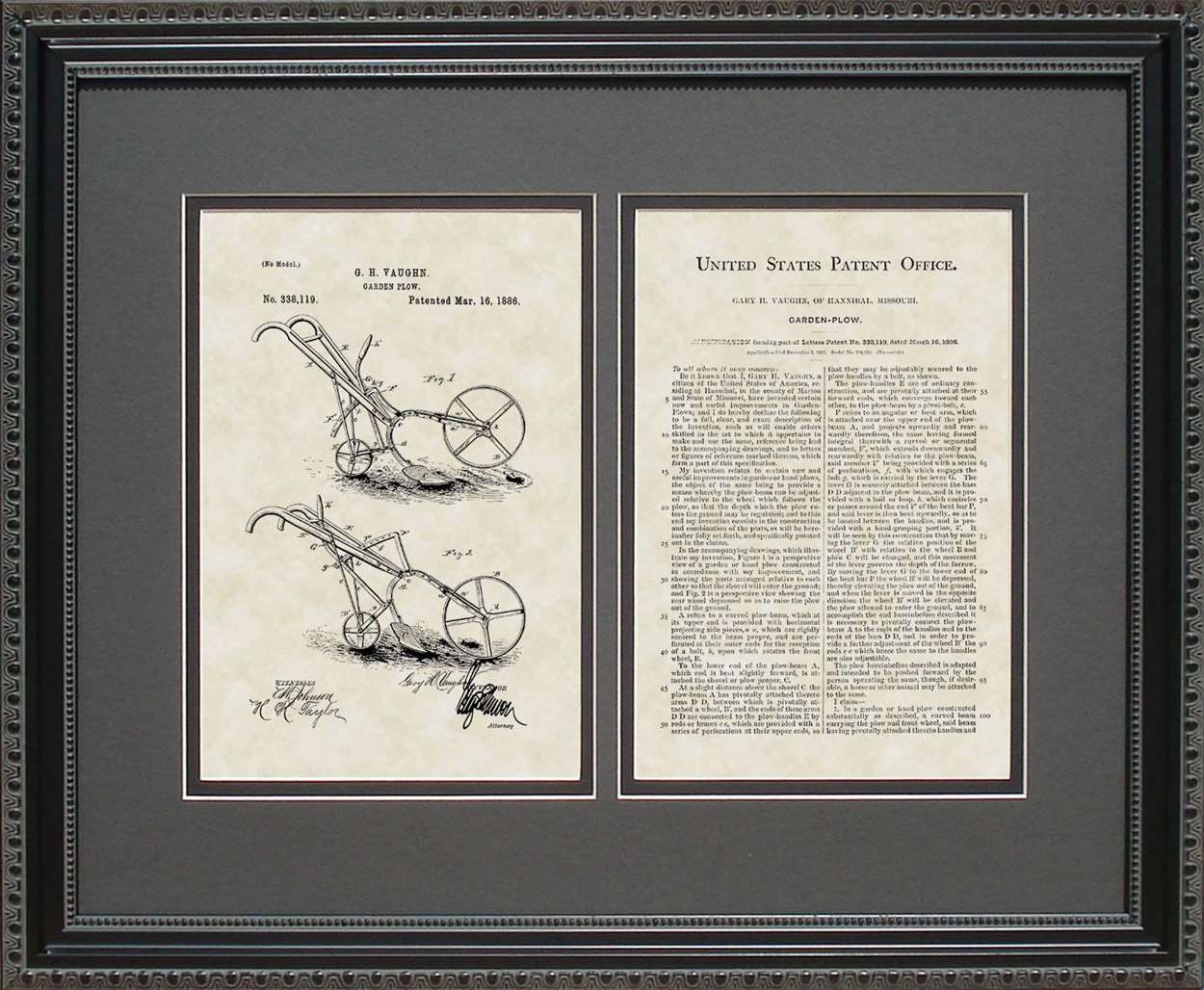 Garden Plow Patent, Art & Copy, Vaughn, 1886, 16x20
