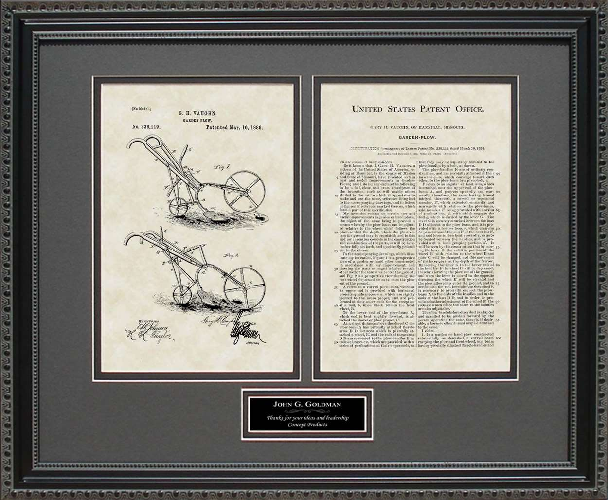 Personalized Garden Plow Patent, Art & Copy, Vaughn, 1886