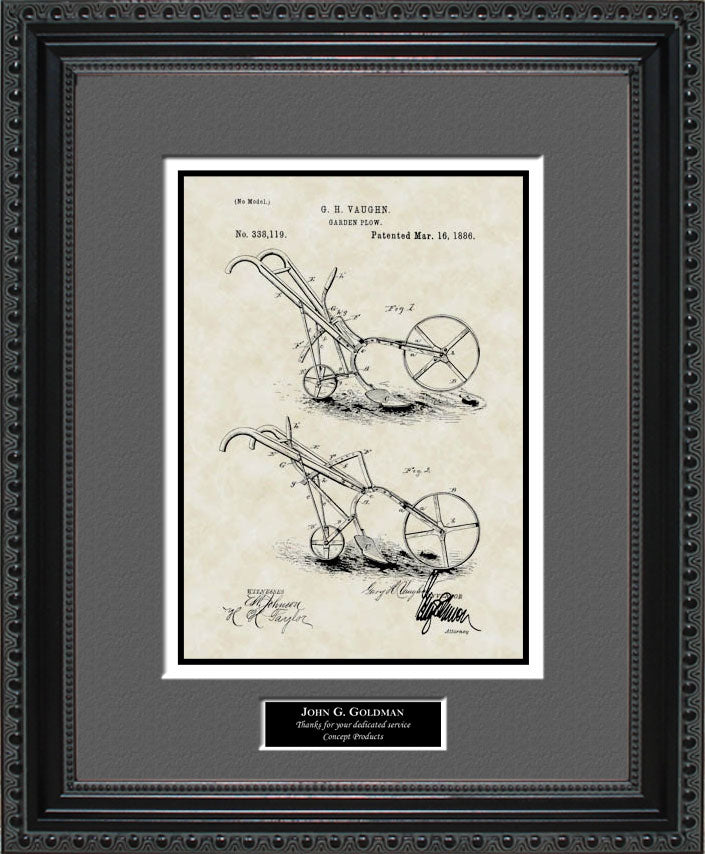 Personalized Garden Plow Patent Art, Vaughn, 1886