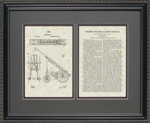 Fire Ladder Truck Patent, Art & Copy, Welte, 1858, 16x20