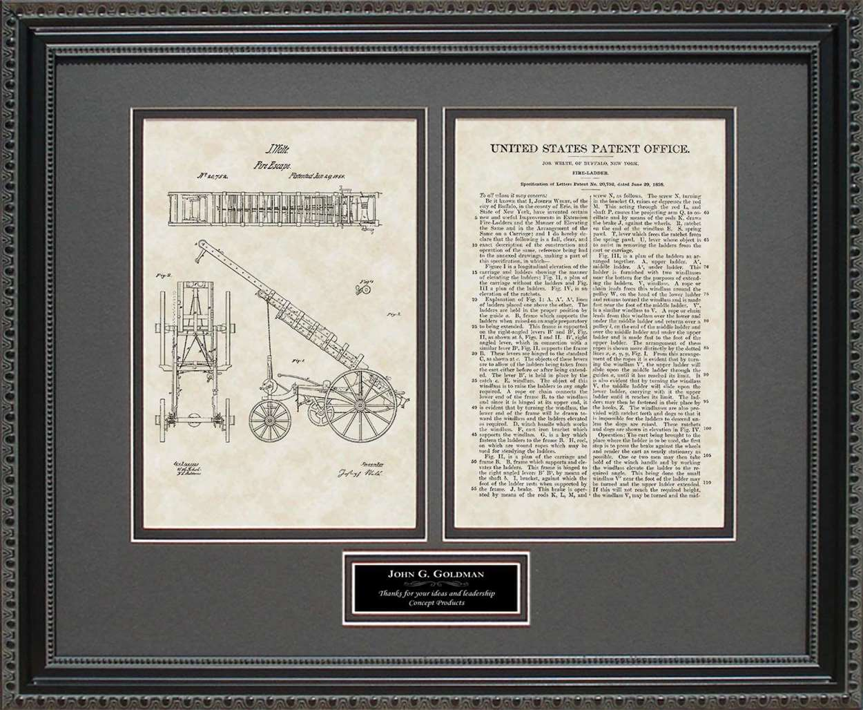 Personalized Fire Ladder Truck Patent, Art & Copy, Welte, 1858