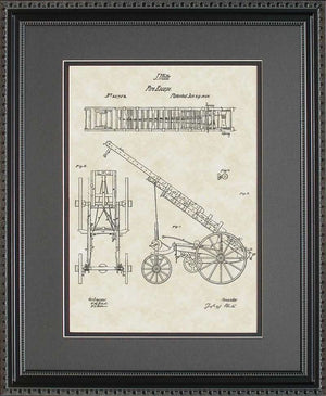 Fire Ladder Truck Patent Art, Welte, 1858