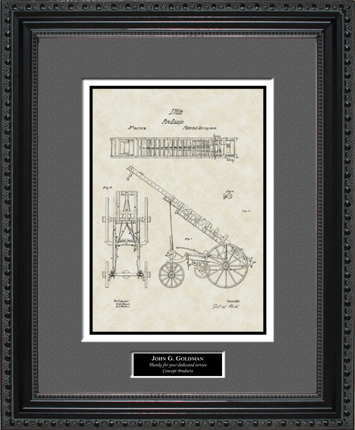 Personalized Fire Ladder Truck Patent Art, Welte, 1858