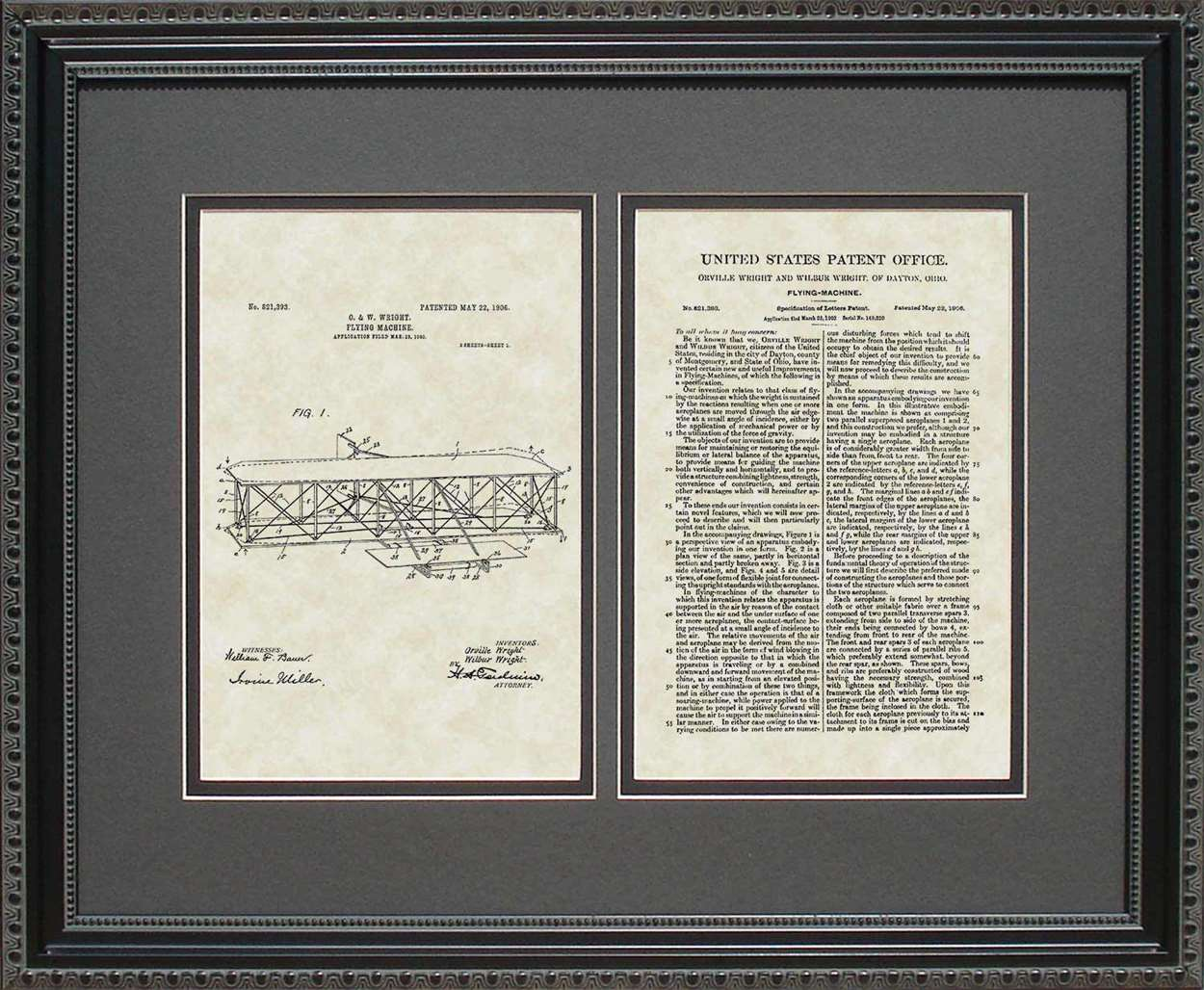 Airplane Patent, Art & Copy, Wright, 1906, 16x20