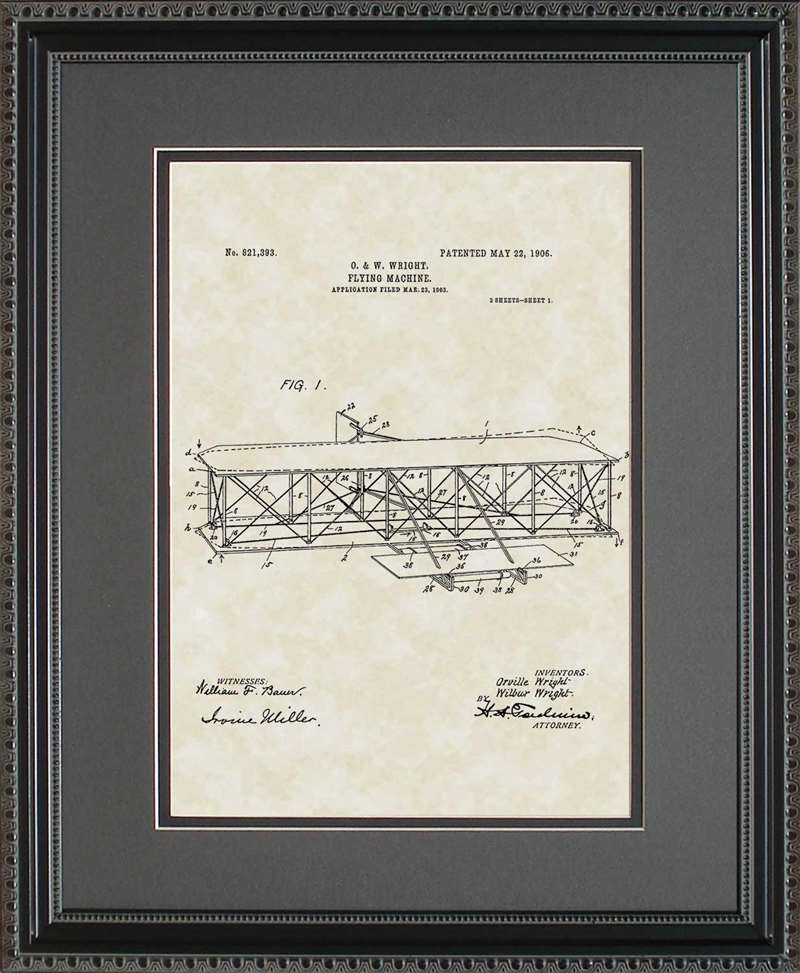 Airplane Patent Art, Wright, 1906