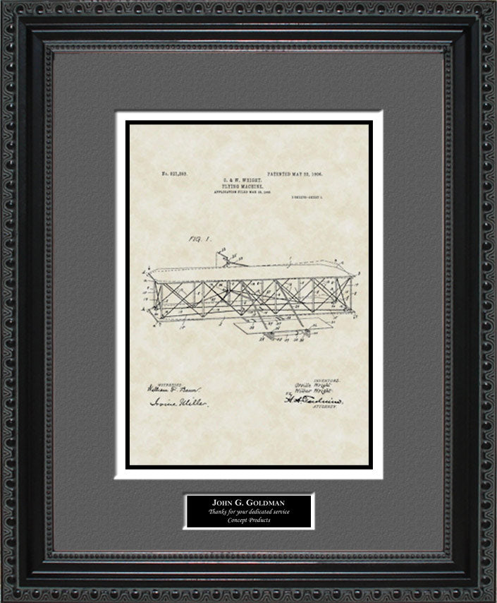 Personalized Airplane Patent Art, Wright, 1906
